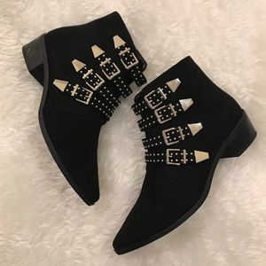 Express Studded Multi Buckle Booties Sz. 7